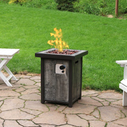Sunnydaze Square Outdoor Propane Gas Fire Pit Table with Weathered Wood Look