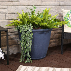 Anjelica Indoor and Outdoor Resin Planter with Slate Finish, Single Planter