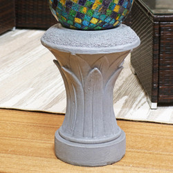 Closeup of Sunnydaze Tropical Leaves Indoor/Outdoor Gazing Globe Stand (Travertine)