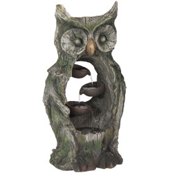 Sunnydaze Cascading Wisdom Owl Outdoor Water Fountain, 29-Inch
