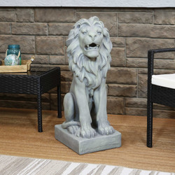Sunnydaze Noble Beast Sitting Lion Outdoor Statue, 30-Inch