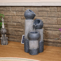 Tiered Cascading Cups Solar Fountain with Battery Backup