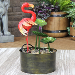 Sunnydaze Flamingo Whimsy Metal Outdoor Water Fountain, 21-Inch