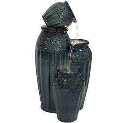Sunnydaze Tour de Vase Ceramic Outdoor Water Fountain, 27-Inch