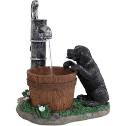 Playful Farmhouse Pup and Water Pump Tabletop Fountain