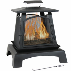 Sunnydaze Pagoda Style Steel with Black Finish Wood-Burning Fire Pit, 32-Inch
