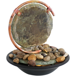 Serene Eclipse Slate Tabletop Water Fountain with Light