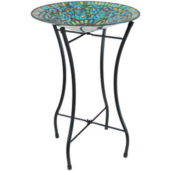 Sunnydaze Mosaic Peacock Feather Glass Mosaic Outdoor Bird Bath with Stand, 14-Inch Diameter