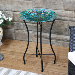 Sunnydaze Mosaic Peacock Feather Glass Mosaic Outdoor Bird Bath with Stand
