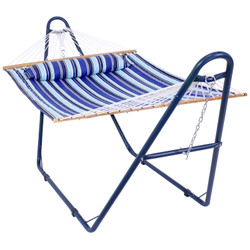 Quilted Double Fabric 2-Person Hammock with Blue Multi-Use Universal Steel Stand, Catalina Beach