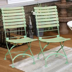 Sunnydaze Cafe Couleur European Chestnut Wooden Folding Dining Chair, Portable, Green, Compact Side Chair Set
