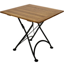 "Sunnydaze European Chestnut Wood Folding Square Bistro Table, 31"" Square"