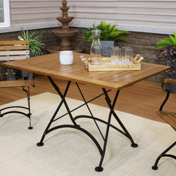"Sunnydaze European Chestnut Wood Folding Dining Table - 47"" x 31"""
