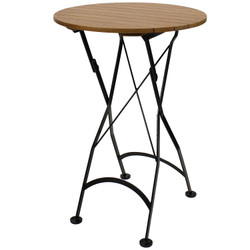 "Sunnydaze Bar Height Folding European Chestnut Wood Round Table, 28"" Round"