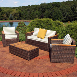 Sunnydaze Kenmare 4-Piece Rattan and Acacia Outdoor Patio Furniture Set with Green and White Striped Cushions
