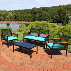 Coachford 4-Piece Black Resin Rattan Outdoor Patio Furniture Set