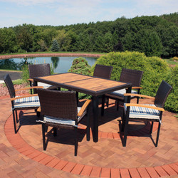 Sunnydaze Carlow 7-Piece Outdoor Patio Dining Set with Cushions