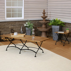 Sunnydaze European Chestnut Wood Folding Table Set