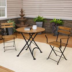 Sunnydaze Basic European Chestnut Wood 3-Piece Bistro Table and Chairs Set