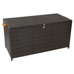 75-Gallon Outdoor Deck Box with Acacia Wood Handles