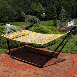 Sunnydaze 2-Person Quilted Printed Fabric Spreader Bar Hammock and Pillow - Yellow and Gray Chevron
