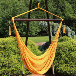 Sunnydaze Hanging Caribbean XL Hammock Chair - Gold