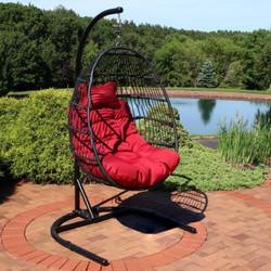 Sunnydaze Julia Hanging Egg Chair with Cushion and Stand - 76 Inches Tall