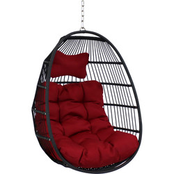 Sunnydaze Julia Hanging Egg Chair with Seat Cushions - 44 Inches Tall - Red