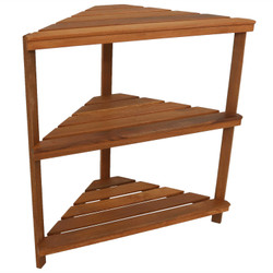 Meranti Wood 3-Tier Indoor/Outdoor Corner Plant Stand