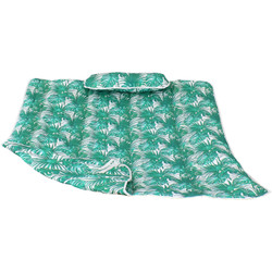 Sunnydaze Cotton Quilted Hammock Pad and Pillow - Green Palm Leaves