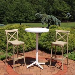 Sunnydaze All-Weather Fleming 3-Piece Patio Bar Furniture Pub Table and Stool Set