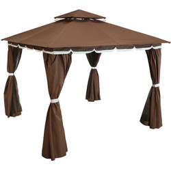 Sunnydaze 10 x 10 Foot Soft Top Patio Gazebo with Mosquito Screens and Privacy Walls - Brown