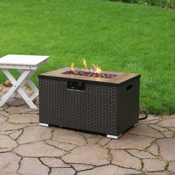 Sunnydaze Tile Top Resin Wicker Propane Gas Fire Pit Coffee Table