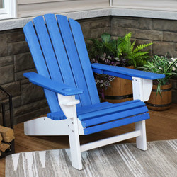 Sunnydaze All-Weather 2-Color Outdoor Adirondack Chair with Drink Holder - Blue and White