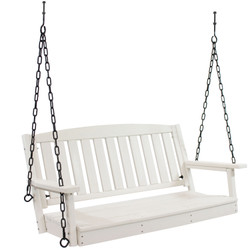 Sunnydaze HDPE All-Weather White Outdoor Porch Swing Bench