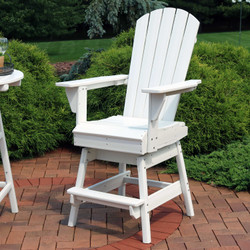 Sunnydaze All-Weather White Outdoor Balcony Adirondack Swivel Chair