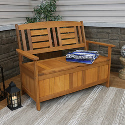 Meranti Wood Outdoor Storage Bench with Teak Oil Finish