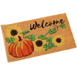 "Sunnydaze 17"" x 29.5"" PVC and Coir Doormat - Pumpkin"