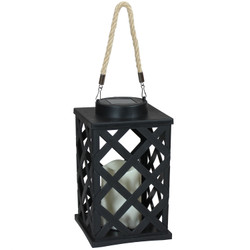Modern Crosshatch Outdoor Solar LED Decorative Candle Lantern, Single