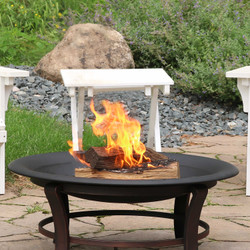 """Sunnydaze Outdoor Replacement Fire Bowl for DIY or Existing Fire Pits - Steel with High-Temperature Paint Finish - Round Wood-Burning Pit - 23"""""""