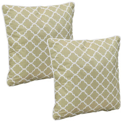 Outdoor Decorative Throw Pillows, Set of 2, Tan and White Lattice