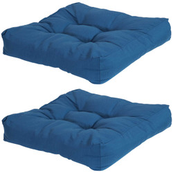 Set of 2 Tufted Outdoor Seat and Back Cushions, Blue