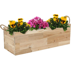 Sunnydaze Rectangle Acacia Wood Tray Planter with Handles and 3 Removable Plastic Liners