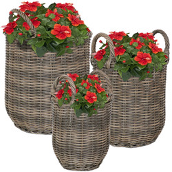 Sunnydaze Round Indoor Polyrattan Basket Planters with Handles - Set of 3
