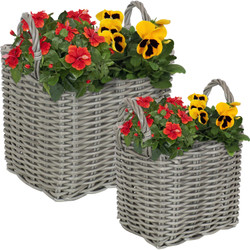 Sunnydaze Indoor Rectangle Polyrattan Basket Planters with Handles - Set of 2