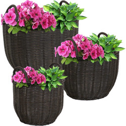 Sunnydaze Round Short Polyrattan Basket Planter with Handles - Set of 3
