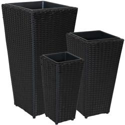 Sunnydaze Tall Square Dark Gray Polyrattan Planter - Set of 3