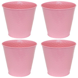Sunnydaze Steel Planter with Hexagon Pattern - Set of 4 - Pink