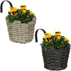 Sunnydaze Round Polyrattan Over-the-Rail Planter - Set of 2