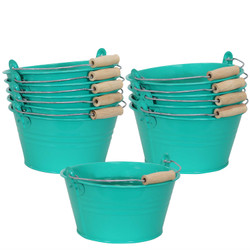 Sunnydaze Galvanized Steel Bucket Planter with Handle - Teal